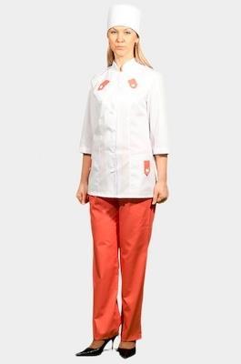 Медицинский костюм с цветной отделкой К-208 ОРАНЖ