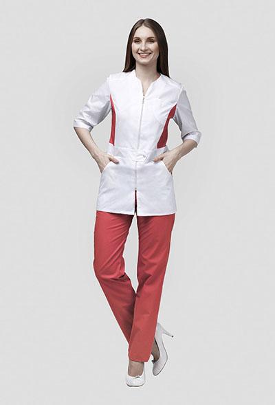 Медицинский костюм с персиковой отделкой К-277 ПЕРСИК