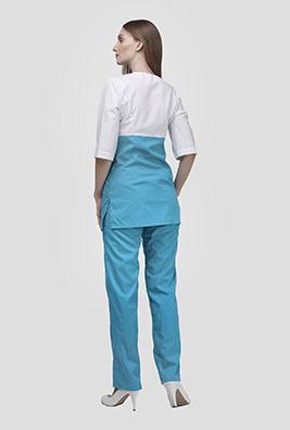 Бирюзовый медицинский костюм с коротким рукавом К-280-G