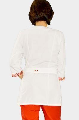 Медицинский костюм большого размера с цветной отделкой К-282