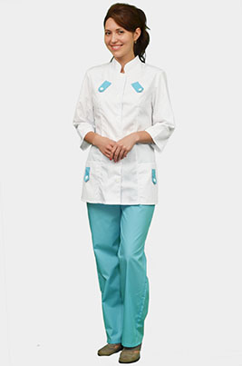 Медицинский костюм с голубой отделкой К-208 БИРЮЗА