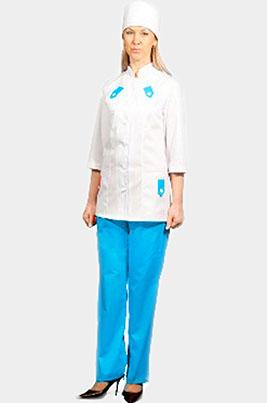 Медицинский костюм с голубой отделкой К-208 ГОЛУБОЙ