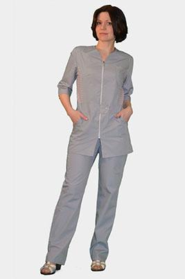 Медицинский костюм с цветной отделкой К-277 СЕРЫЙ