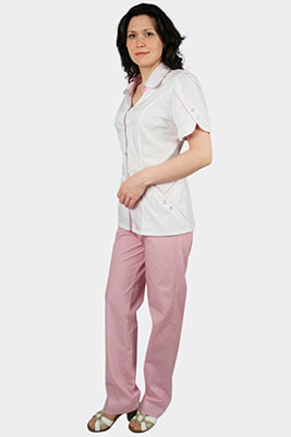 Стильный мед костюм с розовыми брюками К-292
