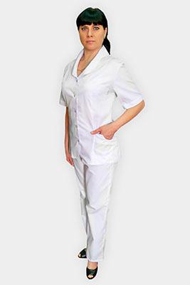 Медицинский костюм белого цвета К-295