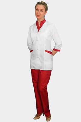 Костюм большого размера с красными брюками К-320