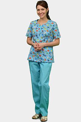 Женский медицинский костюм с детским рисунком К-356-Г в Москве